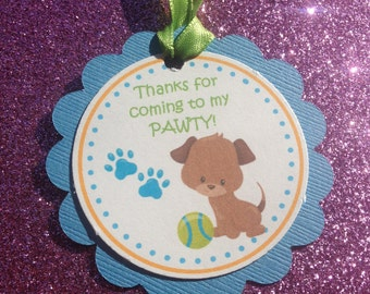 Puppy Party, Puppy Favor Tags, Puppy Theme Tags