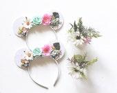 Mickey Ears Headband Floral Glitter Mouse Ears, Floral Crown, Hard Headband, giddyupandgrow