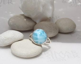Larimarandsilver ring size 6.25, Summer Splash - aquamarine Larimar round, turtleback, water round,  aqua teal ring, handmade Larimar ring