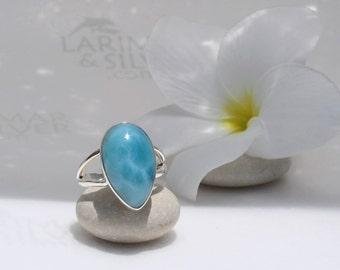 Larimarandsilver ring size 7.5, My Inner Sea - sea blue Larimar pear, ocean blue, water drop, siren ring, teal ring, handmade Larimar ring A