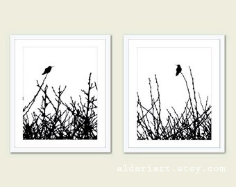 Hummingbirds and Branches Print Set - Black and White Minimalist Birds Wall Art - Woodland - Spring Summer Home Bird on Twig Decor