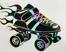 Silver Flames Skate Decal