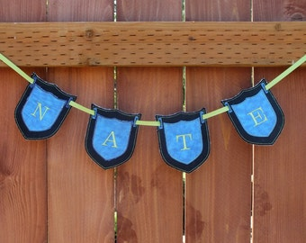 Custom personalized shield bunting banner birthday bunting banner anniversary bunting banner girls room decor boys room decor