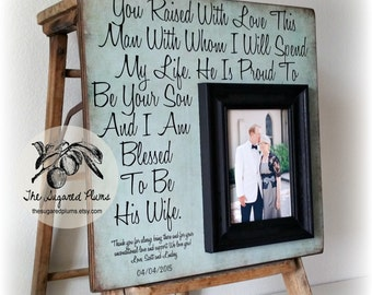 Mother of the Groom, Parents of the Groom, You Raised With Love This Man, Wedding Thank You, 16x16 The Sugared Plums Frames