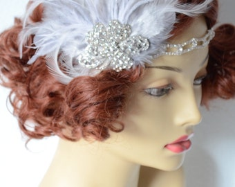 READY TO SHIP, Grey and white Feather headband, Bridal Gatsby headband, Art deco, Rhinestone headband, 1920s, Downton Abby headpiece,