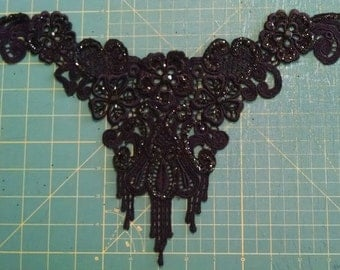Gorgeous Black Glitter and glass sequin applique