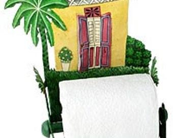 Toilet Paper Holder, Hand Painted Yellow Caribbean House - Tropical Bathroom Decor - Bathroom Tissue Holder, Toilet Roll Holder - 7074-YL-TP