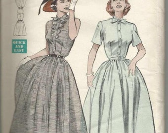 1950s Full Skirt Dress Frilled Bodice Sleeve Variations Princess Seams Quick and Easy Butterick 6131 Size 18 Bust 36 Vintage Sewing Pattern