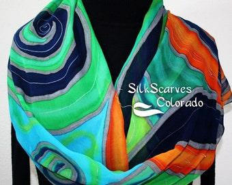 Green Silk Scarf. Blue Hand Painted Chiffon Silk Shawl. Orange Silk Scarf OCEAN SPIRIT by Silk Scarves Colorado. Large 14x72. Birthday Gift