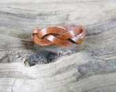 Mystery Braided  Leather Ring - Tan Leather Ring - Ring Band - Leather Jewelry - Women's Leather Ring