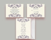 Two Tone Double Flourish Custom Printable Wedding Invitation Suite -- Invite, Response Card + Reception Card -- Digital File Only