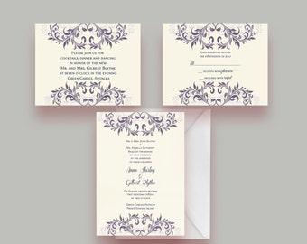 Two Tone Double Flourish Custom Printable Wedding Invitation Suite -- Invite, Response Card + Reception Card -- Digital File Only