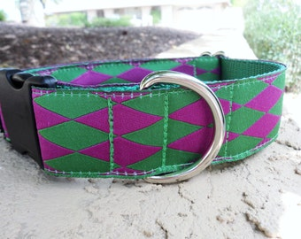 """Sale Large Dog Collar Kelly  Raspberry Harlequin 1.5"""" width Quick Release buckle adjustable - martingale style is cost upgrade"""