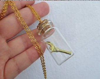 Sailor Moon Necklace - MOON CRESCENT Wand, in a bottle - Sailor Scout Jewelry
