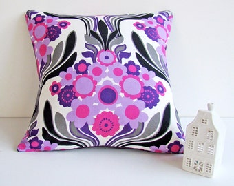 Scandinavian Modern Pillow, Vintage Fabric Cushion Cover, 1970s Lilac Pillow