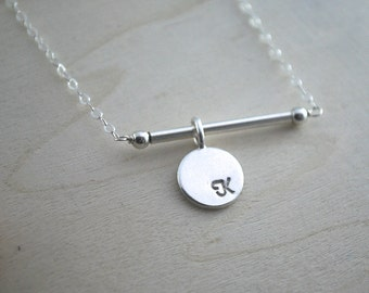 SILVER disc letter necklace initial bar necklace letter pendant delicate dainty necklace with Custom initial nice for layering letter charm