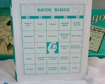Bride Bingo White Silk Wedding Book with Vintage Bridal Shower Game Card Cover