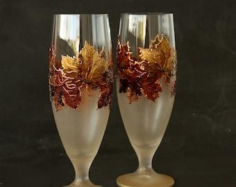 Beer Glasses, Beer Wedding Glasses, Autumn Wedding, Maple Glasses, Harvest Wedding, Hand painted, set of 2