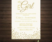 Gold Glitter Baby Shower Invitations, Printable File, It's a Girl Shower Invitation, Pink Chevron, Pink and Gold, Elegant Baby Shower
