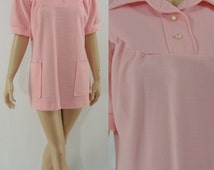 Vintage Seventies Micro Mini - 1970s Pink Ribbed Mod Dress - 70s Mini Dress - XL
