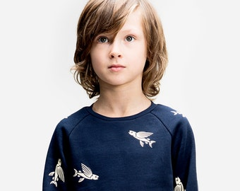 Flying Fish - Cotton Sweater. Soft handmade long sleeve jumper for kids, toddler, boy and girl, GOTS certified-no shipping costs
