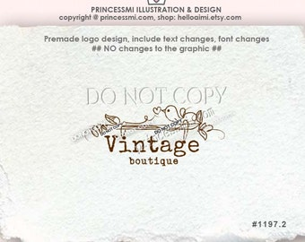 1197-2 sketch little bird logo, branch logo, vintage photography logo business logo by princessmi