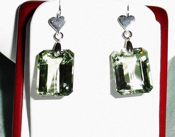 39cts Natural Cushion Emerald Green Amethyst gemstones, Sterling Silver Heart Pierced Earrings