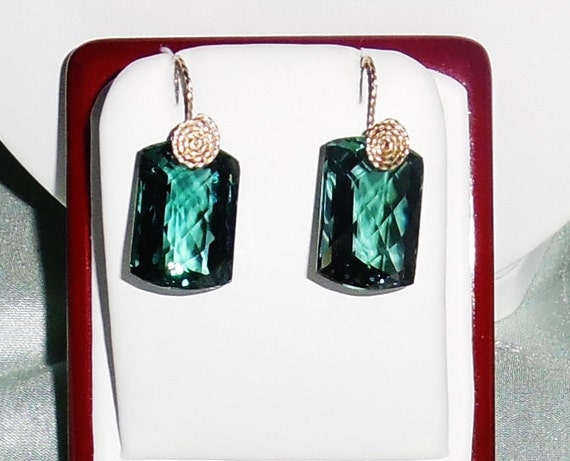 51 cts Cushion CKB Green Amethyst gemstones, 14kt yellow gold Pierced Earrings