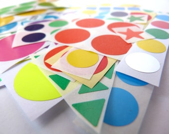 100 Assorted STICKERS - Colored DOTS and much more