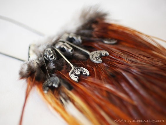 Ready to Ship Pewter Bat Skull Necklace on Fire Orange Feather Pelt