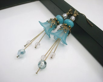 Teal Blue Flower Earrings, Antique Brass Earrings, Lucite Flower Earrings, Blue Earrings, Beaded Flower Earrings, Free Shipping