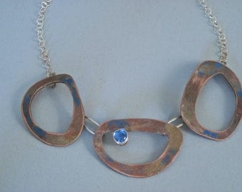 Fire Patina Copper and Sterling Link Necklace with Blue Spinel
