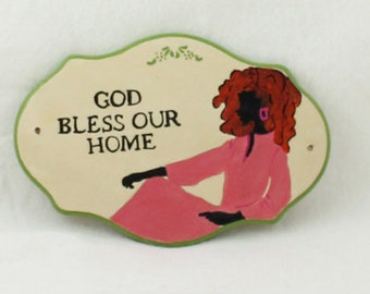 Painting Handmade Wooden Sign - Home Decor - God Bless our Home - Birthday Present, Friendship Gift Ideas, Handmade Gift, Wooden Sign