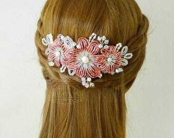 Beaded Flower Hair Vine in Dusty Rose Pink, Wedding Floral Hair Vine, Bridal Hair Accessories, Bridesmaid Hair Piece, freshwater pearls