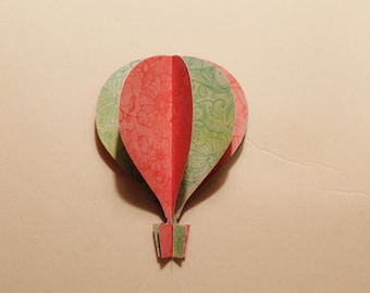 "3d Hot Air Balloon -  5""   aqua teal pink large floral pattern"