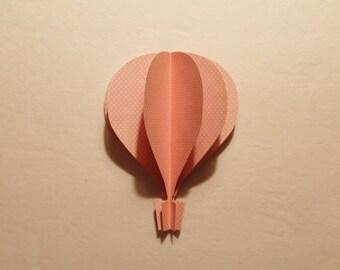 """3d Hot Air Balloon -  5""""  light pink polka dots"""