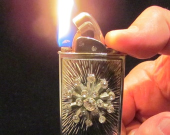 Evans Silver Lighter 1950s Rhinestone Lighter Baron Tall Extremely Rare Ladies Working Lighter