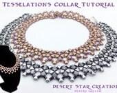 Silky Kheop Tesselations Collar Tutorial, Beadweaving Necklace Bracelet Pattern, Two Hole Bead Collar Cuff Set Instructions, Laura Graham