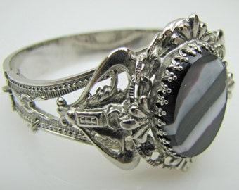 Victorian Revival Silver Banded Agate Hinged Bangle. Vintage Scottish Pebble Bracelet. Ornate Filigree Scrollwork. Whiting & Davis C1950