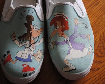 For Sale Hey New Funny Nurses shoes... RN or FNP  Love you guys. size 11 keds