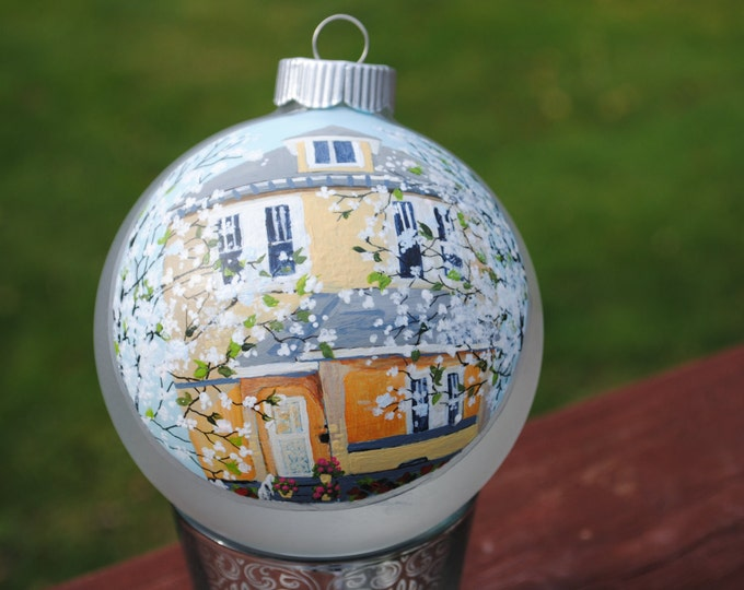 """Custom Home Hand Painted from picture on 4"""" Glass Ornament- sold"""