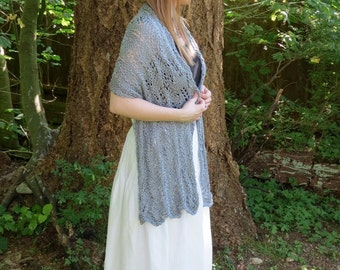 Silk & Bamboo bridal lace wrap shawl- Stone