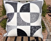 Black, White and Grey Drunkards Path Quilted Pillow Cover Ready to Ship