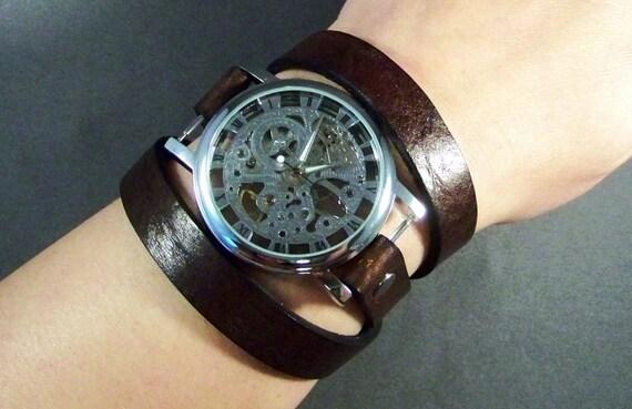 Leather Watch-Women Watch-Men Watch-Wrist Watch-Brown Watch-Mechanical Watch-Steampunk Watch-Bracelet Watch-Friendship Bracelet-Gifts