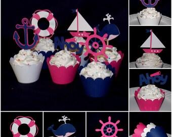 Pink & Navy Nautical Cupcake Topper Sailing Decoration Food Pick Treat Pick Party Pick Birthday Cake Decoration Baby Shower Cupcake Wrapper