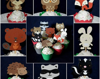Woodland Cupcake Toppers Enchanted Forest Fox Owl Raccoon Hedgehog Beaver Food Pick Forest Birthday Party Cupcake Decoration Cupcake Wrapper