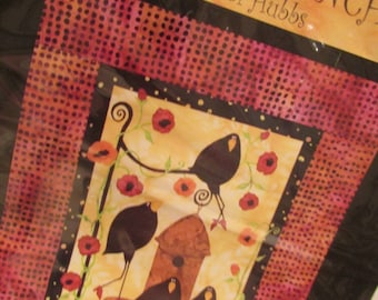 Wall Quilt pattern -  Primitive crows Out to Lunch, crows, apples, autumn