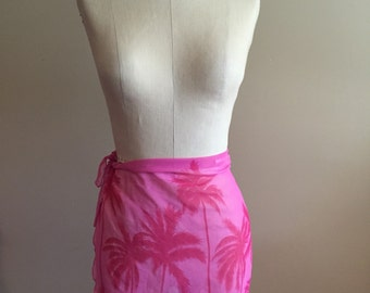 Vintage Pink Palm Tree Sarong - Size Small - Bathing Suit Cover - Beach - Resort - Festival - Vacation - Tropical - Coachella
