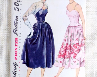 Vintage Simplicity 8392  sewing pattern 1950s Bust 32 New Look Full Skirt blouse bolero prom Wedding Small pleated skirt Spaghetti strap