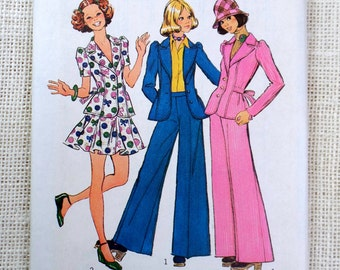 Vintage Pattern Simplicity 5795 Bell Bottoms Pants Bust 33.5 1970s hippie Mod Puffy sleeve Flared skirt Disco Glam